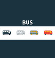 bus icon set four simple symbols in diferent vector image vector image