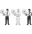 businessman holding up and pointing big light vector image vector image