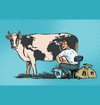 businessman mines bitcoins milking a cow world vector image vector image