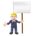cartoon suit man holding sign vector image vector image