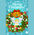 christmas wreath with bell and bow greeting card vector image vector image
