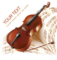Classical cello on musical notes background vector image