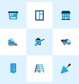 construction icons colored set with door house vector image vector image