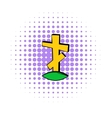 Cross tombstone icon comics style vector image vector image