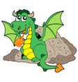 cute dragon in cave vector image
