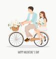 cute young couple riding bicycle with vector image