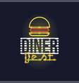 dinner best retro neon sign vintage bright vector image vector image
