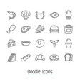 doodle food icons vector image vector image