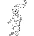 football playing girl line art vector image