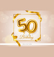 golden balloons number greeting card realistic vector image