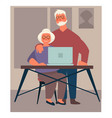grandparents using laptop elderly couple surfing vector image