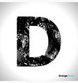 grunge letter d black font sketch style symbol vector image