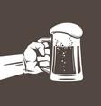 hand holding glass mug full beer design vector image vector image