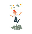 happy girl woman jumping under money rain vector image