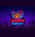 happy halloween neon sign design template vector image vector image