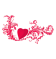 Heart and floral ornaments vintage vector image vector image