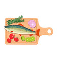 ingredients and spices for cooking fish vector image vector image