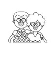 line old couple with hairstyle and glasses vector image vector image
