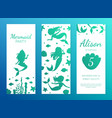 mermaid party banner template with cute aquatic vector image vector image
