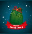 merry christmas celebration with santa claus bag vector image vector image