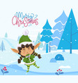 merry christmas greeting card elf stand in forest vector image vector image
