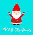 merry christmas santa claus costume red hat beard vector image