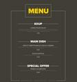 modern minimalistic restaurant menu template vector image