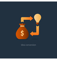Money bag with idea light bulb investment concept vector image