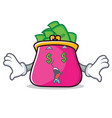 money eye purse character cartoon style vector image vector image