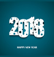 new year card with cut numbers and blue dots vector image vector image