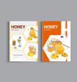 organic raw honey design brochure abstract vector image
