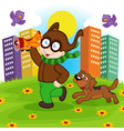 pilot boy runs with dog vector image vector image