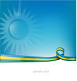 rwanda ribbon flag on blue sky background vector image vector image