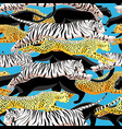 seamless bright jungle pattern panthers vector image vector image