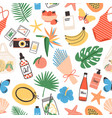seamless pattern with summer attributes on white vector image
