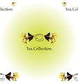 Seamless pattern with tea set logo vector image