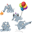 set of elephants cartoon vector image vector image