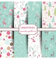 Set of winter seamless patterns vector image vector image