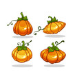 shiny cartoon pumpkin collection for your vector image vector image