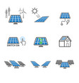solar cell icons power and energy concept vector image vector image