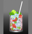 strawberry mojito realistic vector image