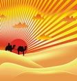 sun sky desert art vector image