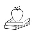 text book with apple vector image vector image