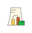 Thermal power plant line icon concept thermal