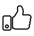 thumbs up hand line icon vector image vector image