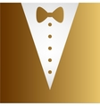Tuxedo with bow silhouette vector image vector image