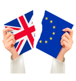 Two torn flags - EU and UK in hands Brexit concept vector image