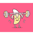 yellow color banana with barbell lifting vector image vector image