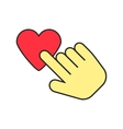 yellow hand icon press heart vector image vector image