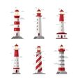 Cartoon lighthouse icons beacon or pharos vector image